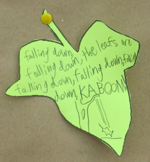 Child's Poem: Falling down, the leaves are falling down, falling down, falling down--KABOOM!