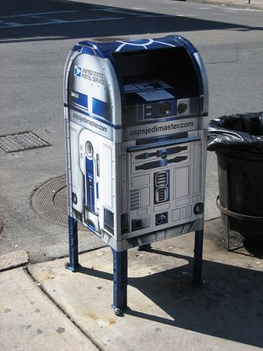 R2D2 mailbox from the 30th anniversary of Star Wars.  Photographed in Boston by David Heiniluoma, Jr.