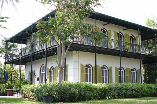Ernest Hemingway's house on Key West, which I happened to see while on vacation last week.  Photo by  Andreas Lamecker, courtesy of Wikimedia Commons. Click for link to museum website.