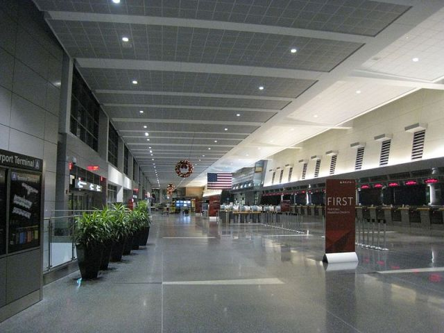 """""""Logan Airport, Terminal A at night"""" by Alan Myles.  Creative Commons, click for source"""