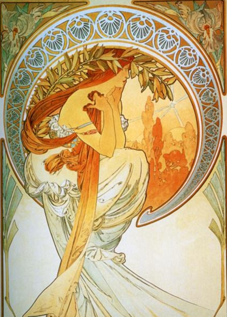 Muse of Poetry by Alphonse Mucha, file courtesy of wikimedia commons