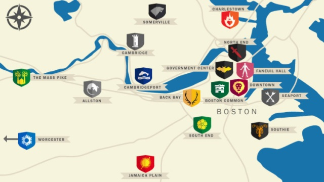 Mapping Westeros onto Boston & Environs, by Michelle Forelle. Click for source.
