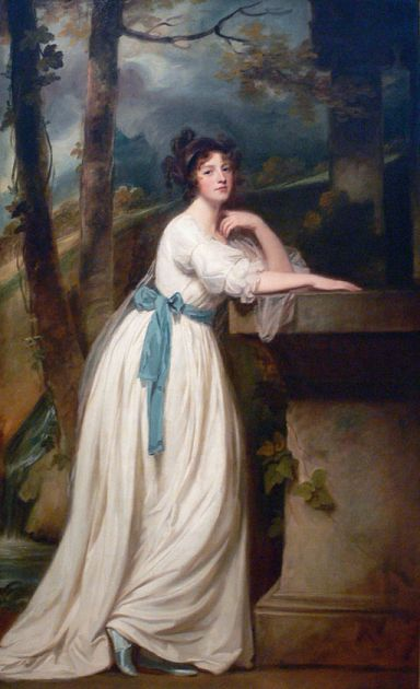 Portrait of Mrs. Andrew Reid; c. l780–1788 Kimbell Art Museum, Fort Worth, Texas; Public domain, via Wikimedia Commons,  (Looks like a puddle-splashing fan, doesn't she?)