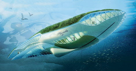 design for a boat or submersible that incorporates green energy to clean waterways
